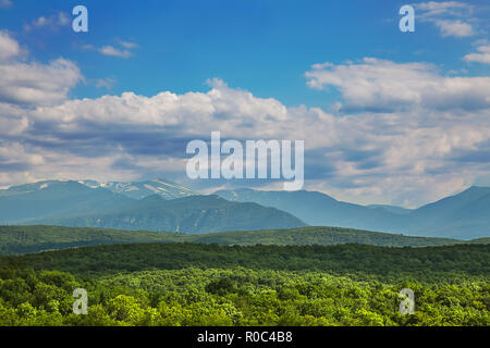 Beautiful view of Guam gorge, Krasnodar region, Russia. Trees and montains on the side. Beautiful adventurous background. - Stock Photo
