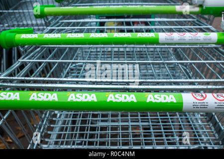 Asda shopping trollies showing company name - Stock Photo