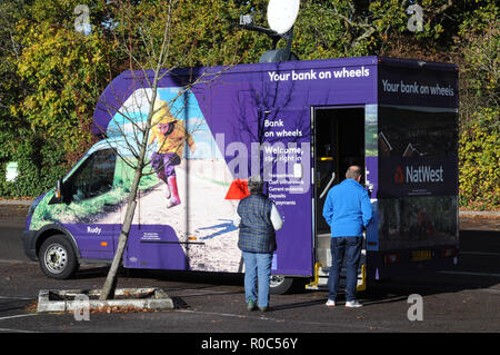 Natwest Bank's answer to the closure of some of its local branches in East Sussex. This mobile banking service calls once a week. - Stock Photo