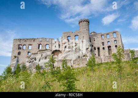 Ruins of the Ogrodzieniec Podzamcze medieval castle in Poland - Stock Photo