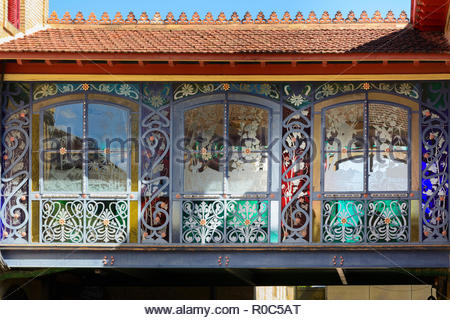 Beaux art pedestrian bridge with fine stained glass work sides in the cellar of Lopez de Heredia, in Haro, La Rioja, Spain. - Stock Photo