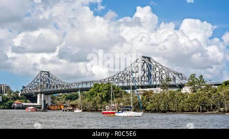 Story Bridge, Brisbane, Australia, viewed from Kangaroo Point. - Stock Photo