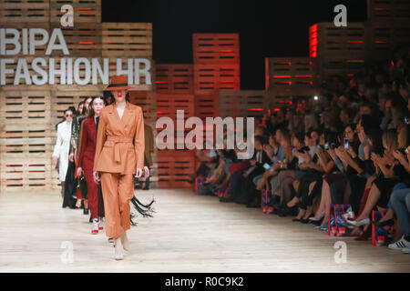 ZAGREB, CROATIA - OCTOBER 27, 2018 : Fashion models wearing clothes for autumn-winter, designed by Mateyaneira on the Bipa Fashion.hr fashion show in  - Stock Photo
