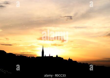 Matthias church tower sunset Budapest Hungary - Stock Photo