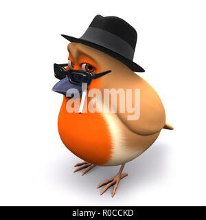 3d Seasonal Christmas robin wears a trilby and smokes a cigarette - Stock Photo