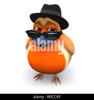 3d Seasonal Christmas robin wears a trilby - Stock Photo