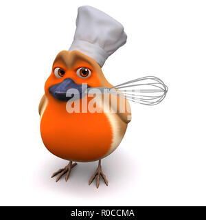 3d Cartoon robin bird wears a chefs hat and has a whisk - Stock Photo