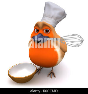 3d render of a cartoon robin bird in chefs hat holding a whisk - Stock Photo