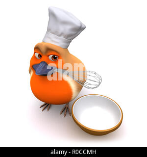 3d render of a cartoon robin bird making a cake with whisk and bowl - Stock Photo