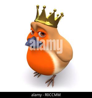 3d Cartoon Christmas robin bird wears a gold royal crown - Stock Photo