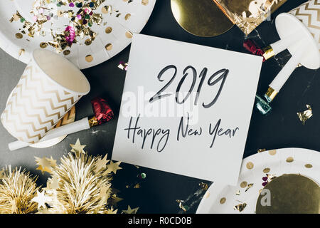Happy New Year 2019 Hand Writting Lettering Design Vector