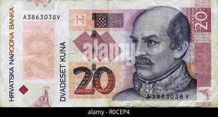 Croatian 20 kuna banknote - Stock Photo