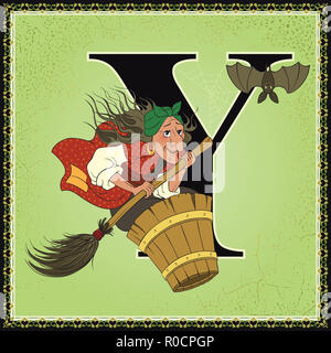 Children book cartoon fairytale alphabet. Letter Y. Baba Yaga from Russian Folk Fairy Tales - Stock Photo