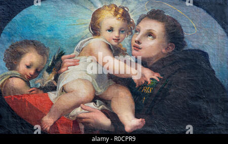 PARMA, ITALY - APRIL 17, 2018: The painting of St. Anthony of Padua in church Chiesa di San Uldarico. - Stock Photo