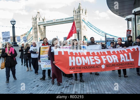 London, UK. 3rd November, 2018. Campaigners for social housing, including residents of some of the eighty estates around London currently facing demolition, protest outside City Hall to demand safe and secure homes for all, a ballot for all estates, more social housing and for public land to be used to build more council homes. Credit: Mark Kerrison/Alamy Live News - Stock Photo