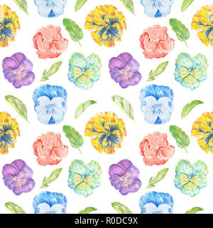 Pattern of colorful flowers painted in watercolor pansies on the background - Stock Photo