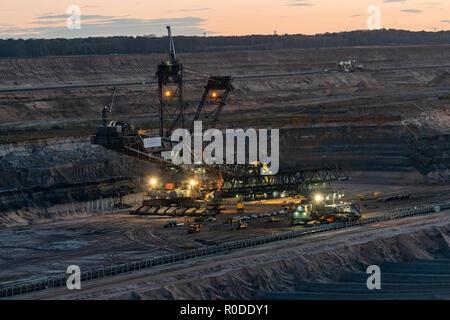 Hambach coal mines at night - Stock Photo