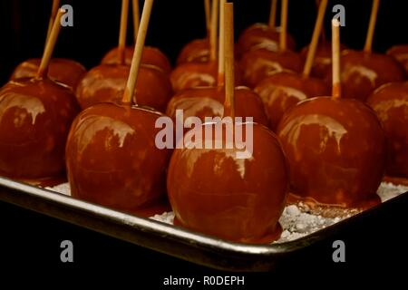 Autumn fresh picked Washington apples dipped in hot caramel making a delicious mouthwatering treat. Located in a farm in Snohomish, Washington, USA. - Stock Photo