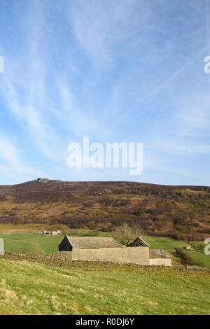 Under blue sky, view of Simon's Seat (high peak on distant upland moors) and derelict traditional stone field barn - Yorkshire Dales, England, GB, UK.