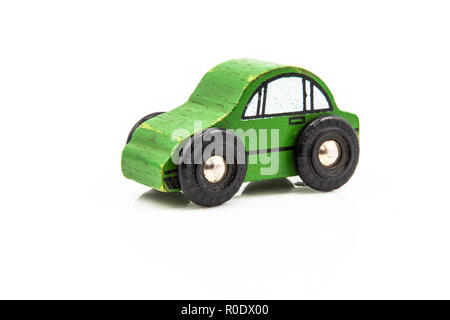 Green Wooden Car Toy on White Background - Stock Photo