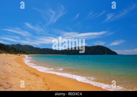 Golden Sand Beach at Totoranui, Abel Tasman National Park, New Zealand - Stock Photo