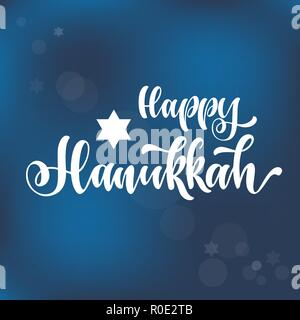 Happy hanukkah hand drawn lettering, dreidels and jewish stars.  Elements for invitations, posters, greeting cards. T-shirt design. Seasons Greetings. - Stock Photo