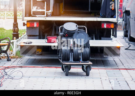 stage equipment for a concert in van - Stock Photo