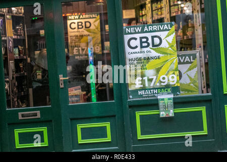 Health Rack commercial sales of Cannabidiol (CBD), marijuana, thc, cannabis, medicine, medical, drug, natural, pot, ganja, cure, legal, federal, green, hemp, plant, weed, leaves, products oil in Blackpool, UK - Stock Photo