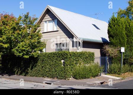 Melbourne, Australia: April 04, 2018: Detached chalet style house on a corner plot in St Kilda - Melbourne - Stock Photo