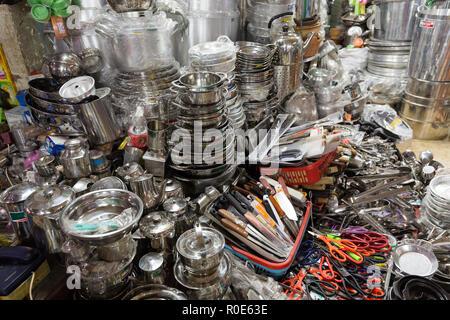 Kitchen utensils Asian shop in the Cho Binh Tay market, saigon, Vietnam - Stock Photo