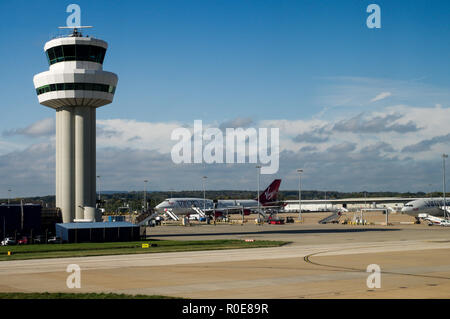 Gatwick Airport Air Traffic Control Tower in southeast England on a bright, sunny day - Stock Photo