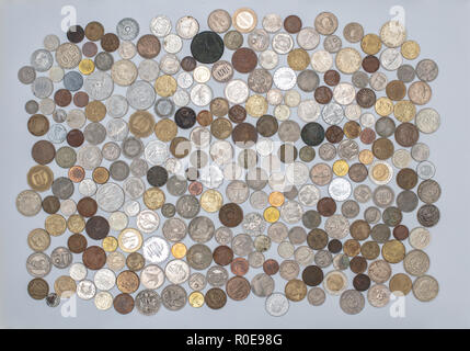 Currency, coins collection, old coins all over the world - Stock Photo