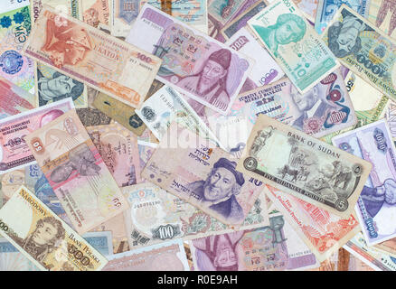 Money background, Closeup on banknotes collection from all around world - Stock Photo