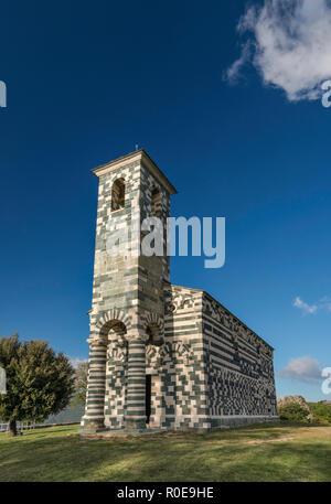 San Michele Church, 1280, Romanesque-Pisan style, in Murato, Nebbio region, Haute-Corse department, Corsica, France - Stock Photo