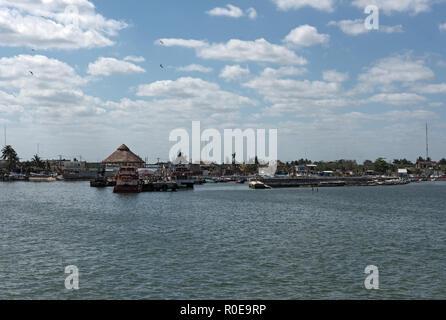 the harbor of chiquila, quintana roo, mexico. - Stock Photo
