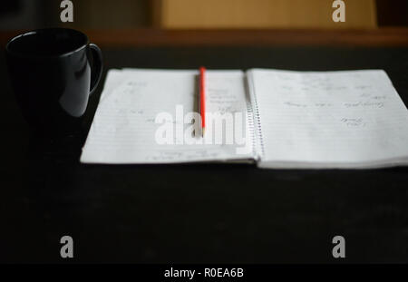 red pencil on an open note book - Stock Photo