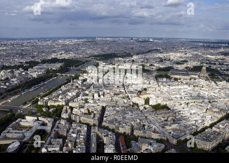 View to the East along the Seine from the top of the Eiffel Tower (La Tour Eiffel), Paris, France. - Stock Photo