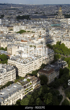 The shadow of the Eiffel Tower, as seen from the top, and the view of Paris, France. - Stock Photo