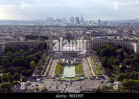 View from the top of the Eiffel Tower toward the district of Trocadero and the Palais de Chaillot, Jardins du Trocadero, Paris, France. - Stock Photo