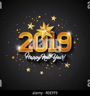 Happy New Year 2019 Illustration with Typography Letter, Gold Cutout Paper Star and Ornamental Ball on Black Background. Vector Holiday Design for Premium Greeting Card, Party Invitation or Promo Banner. - Stock Photo