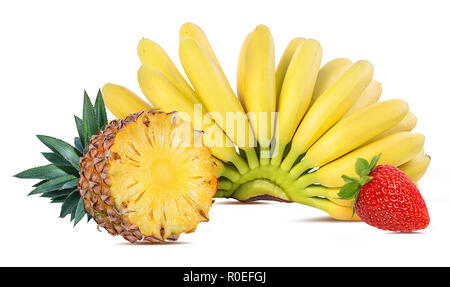 Bananas,pineapple and strawberries isolated on white - Stock Photo