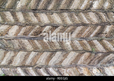 Detail of traditional Icelandic turf houses in Glaumbaer folk heritage museum, Iceland. Pattern of turf brick wall. - Stock Photo