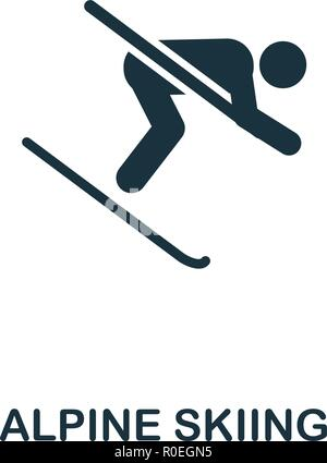 Alpine Skiing icon. Premium style design from winter sports collection. UX and UI. Pixel perfect alpine skiing icon for web design, apps, software, pr - Stock Photo