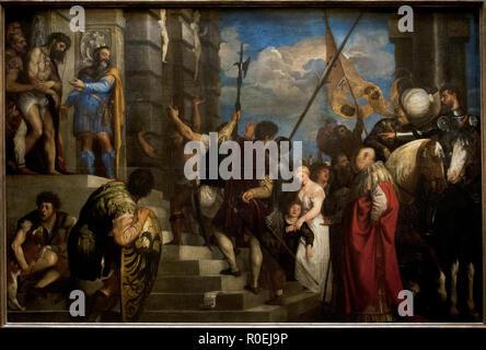 Tiziano Vecellio, called Titian (1488/1490-1576). Italian painter. Ecce Homo, 1543. Italian Mannerism style. Created for the Flemish merchant Giovanni d'Anna. 3610 x 2420 cm. Kunsthistorisches Museum, Vienna. Austria. - Stock Photo