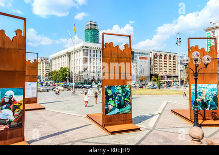 Kiev, Ukraine - August 15, 2018: Maidan installations in honor of people killed during Euromaidan - Stock Photo