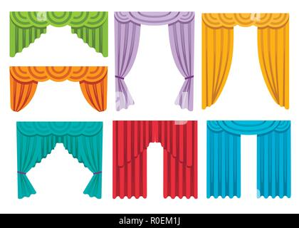 Collection of various colorful curtains. Luxury silk draperies interior decoration design. Flat vector illustration isolated on white background. - Stock Photo