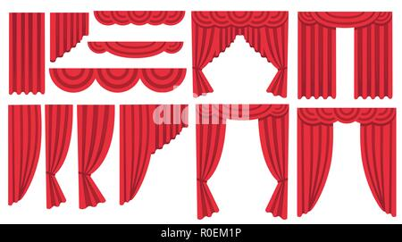 Collection of luxury red silk curtains and draperies. Interior decoration design. Flat icon. Vector illustration isolated on white background. - Stock Photo