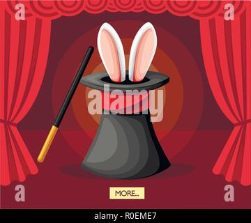 Big black magic hat with rabbit ears. Red curtains on stage. Magic wand. Flat vector illustration on red background. - Stock Photo