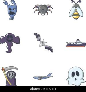 Scare icons set, cartoon style - Stock Photo