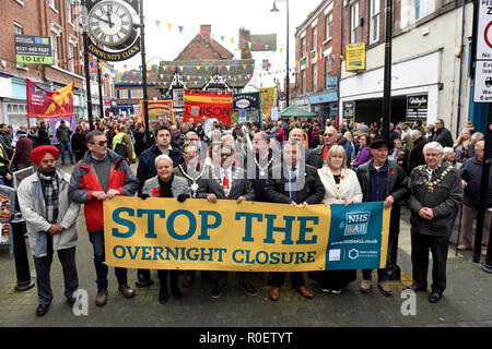 Shropshire, UK. 4th Nov 2018. Thousands of people protesting against the planned closure of the Princess Royal Hospital Accident & Emergency department in Telford Credit: David Bagnall/Alamy Live News - Stock Photo